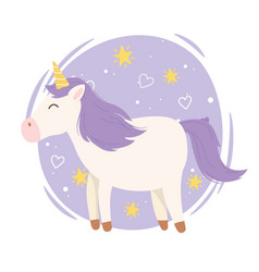 unicorn with gold horn hearts stars magical vector image