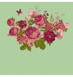 Vintage Roses Background with Butterflies vector image