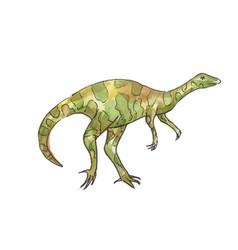 Watercolor dinosaur green allosaurus vector