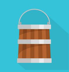 wooden bucket icon flat style vector image