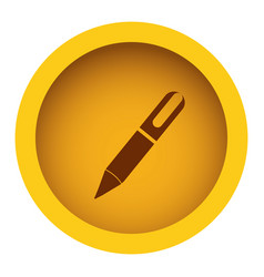 Yellow color circular frame with silhouette pen vector