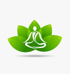 yoga lotus flower logo vector image