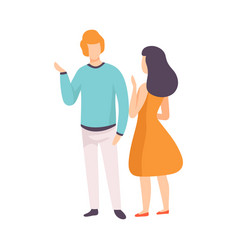 Young man and woman talking people speaking to vector