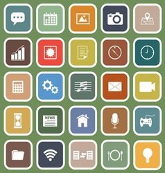 Application flat icons on green background vector image