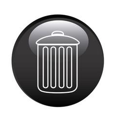 Black circular frame with trash container icon vector