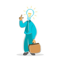 businessman with electric bulb head vector image vector image