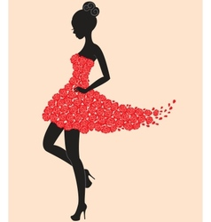 Dancer girl in dress of roses vector image vector image