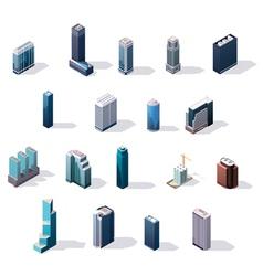 isometric city center buildings set vector image