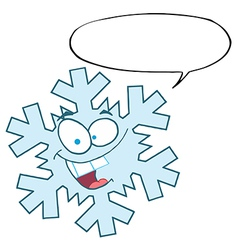 Snowflake Character With Speech Bubble vector image vector image