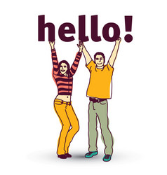 young coupple isolated and sign hello vector image