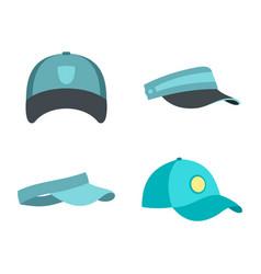 baseball cap icon set flat style vector image vector image