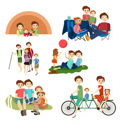 flat icons set of family characters camping vector image
