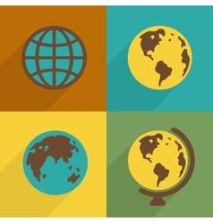 Flat Planet symbol set vector image