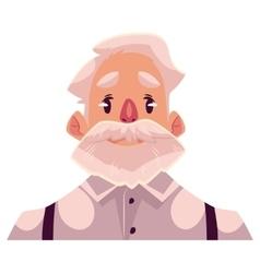 Grey haired old man face neutral facial vector image
