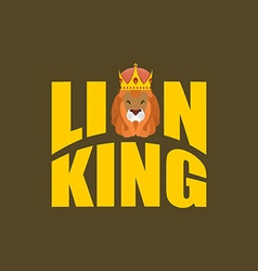 Lion king wild predator and crown royal hat and vector
