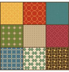 Set of nine retro simple geometric seamless vector image vector image