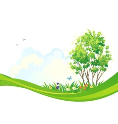 Spring tree background vector image vector image