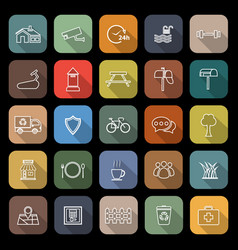 village line flat icons with long shadow vector image