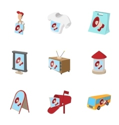 Advertising icons set cartoon style vector image vector image