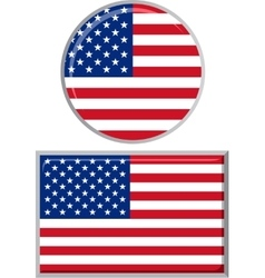 American round and square icon flag vector image vector image