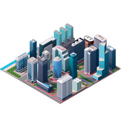 isometric city center map vector image vector image