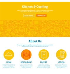 Kitchen and Cooking Line Art Web Design Template vector image vector image