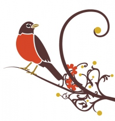 robin on branch vector image