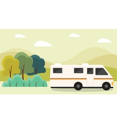 Rv parked in mountains vector