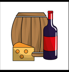 Barrel bottle of wine and cheese icon vector