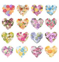floral hearts set vector image