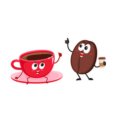 funny coffee bean and espresso cup characters vector image vector image