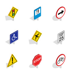 prohibition sign icons isometric 3d style vector image vector image