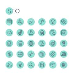 Round SEO Icons vector image