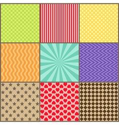 Set of nine simple geometric patterns vector image vector image