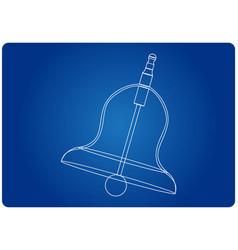 3d model of a bell on a blue vector image