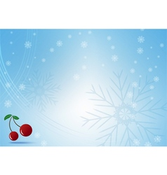 Abstract blue background with snowflake and Red vector image