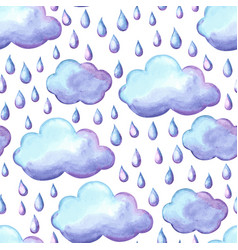 Aquarelle pattern with clouds and rain vector