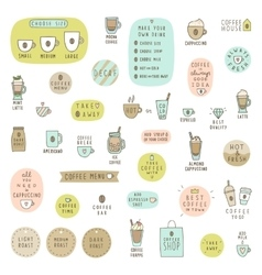 Big set of coffee items vector image