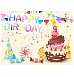 Birthday background with birthday cake vector image vector image