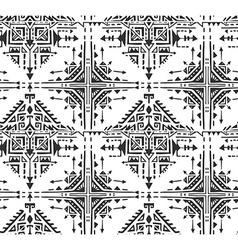 Black and white ethnic seamless pattern with hand vector image