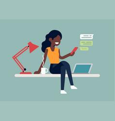 black self-employed woman enjoying coffee break vector image