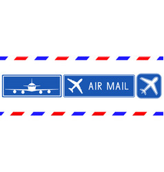 Blue postal stamps air mail square signs vector