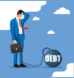Businessman chained to big heavy debt weight vector