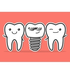 Cartoon dental implant and teeth vector image