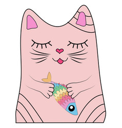 cat with a rainbow fish in its paws print design vector image