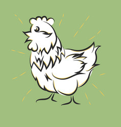 chicken hand drawn happy white hen vector image vector image