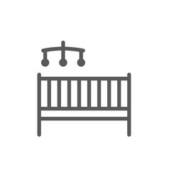 childrens bed with rattles line icon isolated on vector image