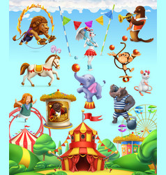 Circus funny animals set of icons 3d icon set vector