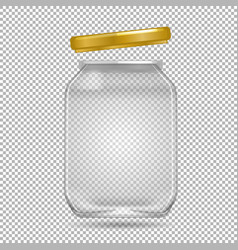 Clear glass jar with yellow lid on transparent vector