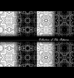 collection black and white seamless vintage vector image